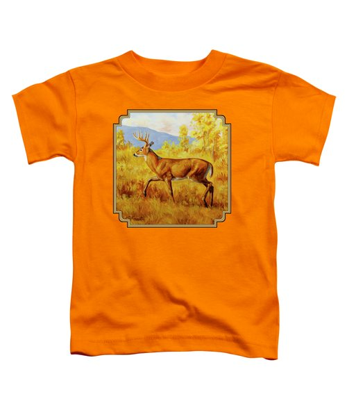 Whitetail Deer In Aspen Woods Toddler T-Shirt by Crista Forest