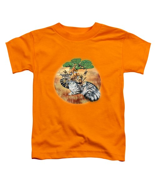 Cat In The Safari Hat Toddler T-Shirt by Carol Cavalaris