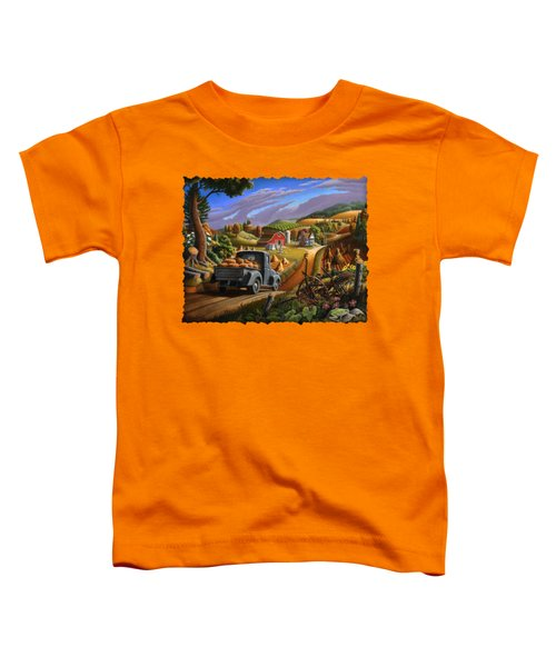 Autumn Appalachia Thanksgiving Pumpkins Rural Country Farm Landscape - Folk Art - Fall Rustic Toddler T-Shirt by Walt Curlee
