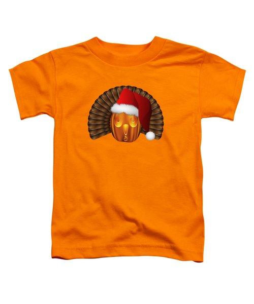 Hallowgivingmas Santa Turkey Pumpkin Toddler T-Shirt by MM Anderson