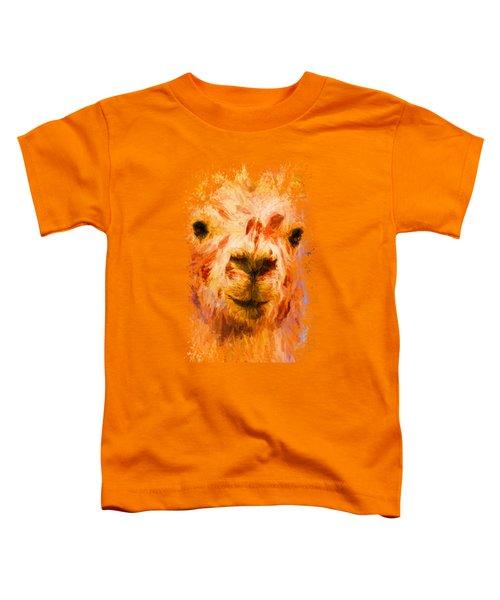 Jazzy Llama Colorful Animal Art By Jai Johnson Toddler T-Shirt by Jai Johnson