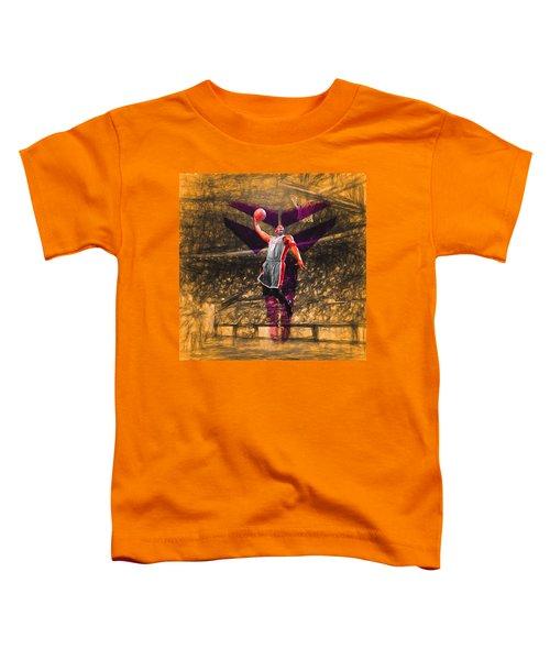 Kobe Bryant Black Mamba Digital Painting Toddler T-Shirt by David Haskett