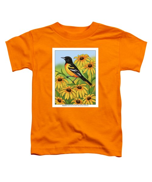 Maryland State Bird Oriole And Daisy Flower Toddler T-Shirt by Crista Forest