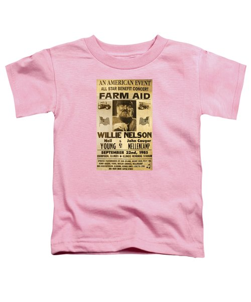 Vintage Willie Nelson 1985 Farm Aid Poster Toddler T-Shirt by John Stephens