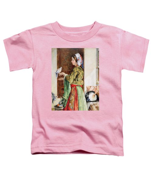 Girl With Two Caged Doves, Cairo, 1864 Toddler T-Shirt by John Frederick Lewis