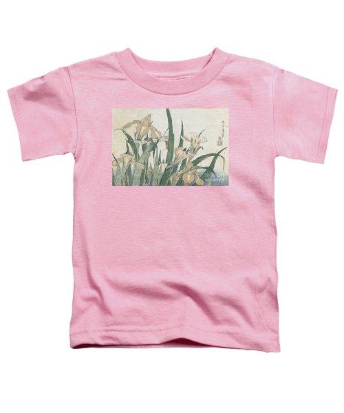 Iris Flowers And Grasshopper Toddler T-Shirt by Hokusai