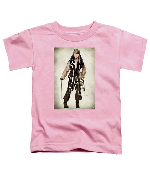 Jack Sparrow Inspired Pirates Of The Caribbean Typographic Poster Toddler T-Shirt by Ayse Deniz