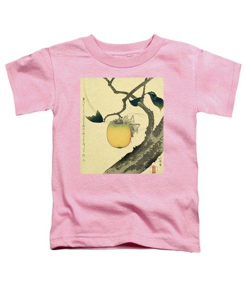 Moon Persimmon And Grasshopper Toddler T-Shirt by Katsushika Hokusai