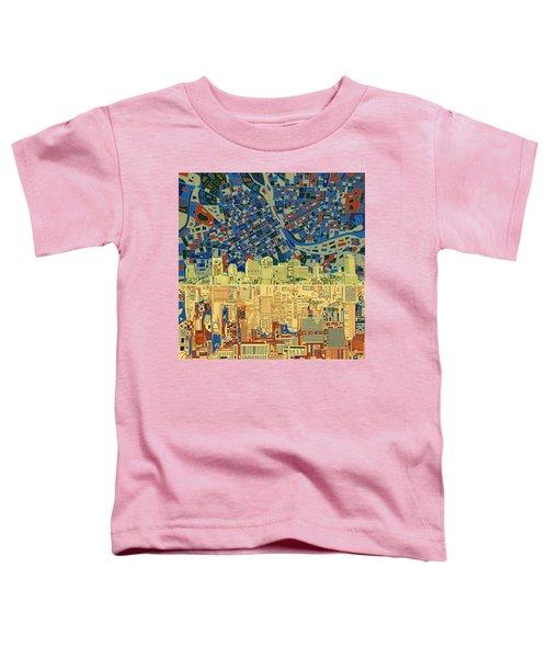 Nashville Skyline Abstract 9 Toddler T-Shirt by Bekim Art