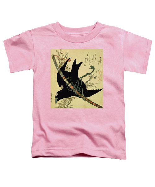 The Little Raven With The Minamoto Clan Sword Toddler T-Shirt by Katsushika Hokusai