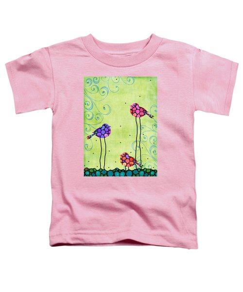 Three Birds - Spring Art By Sharon Cummings Toddler T-Shirt by Sharon Cummings