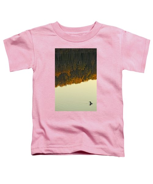 Loon In Opeongo Lake With Reflection Toddler T-Shirt by Robert Postma