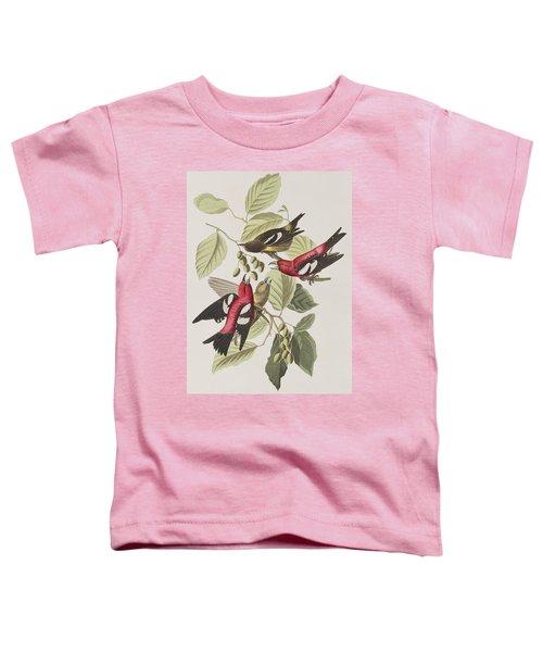 White-winged Crossbill Toddler T-Shirt by John James Audubon