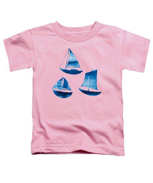 3 Little Blue Sailing Boats Toddler T-Shirt by Frank Tschakert