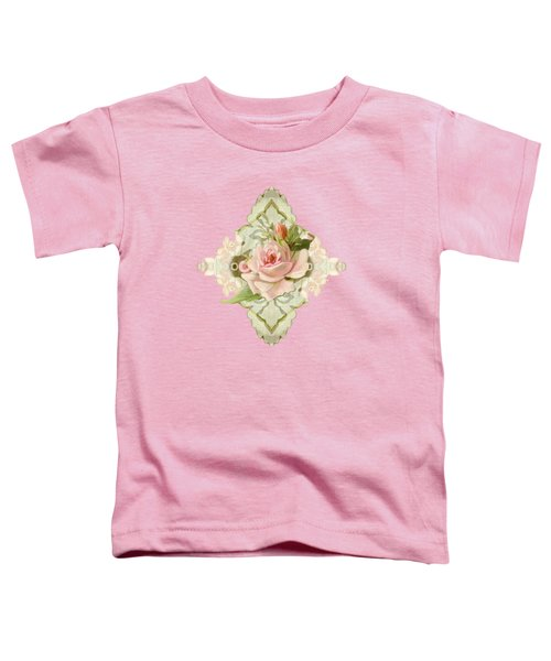 Summer At The Cottage - Vintage Style Damask Roses Toddler T-Shirt by Audrey Jeanne Roberts