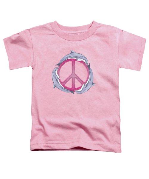 Dolphin Peace Pink Toddler T-Shirt by Chris MacDonald
