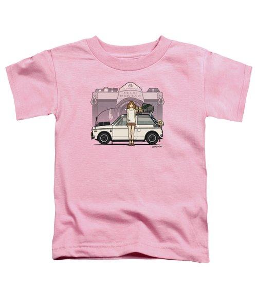 Honda N600 Rally Kei Car With Japanese 60's Asahi Pentax Commercial Girl Toddler T-Shirt by Monkey Crisis On Mars