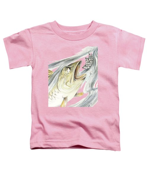 Angry Fish Ready To Swallow Tin Soldier's Paper Boat - Horizontal - Fairy Tale Illustration Fragment Toddler T-Shirt by Elena Abdulaeva