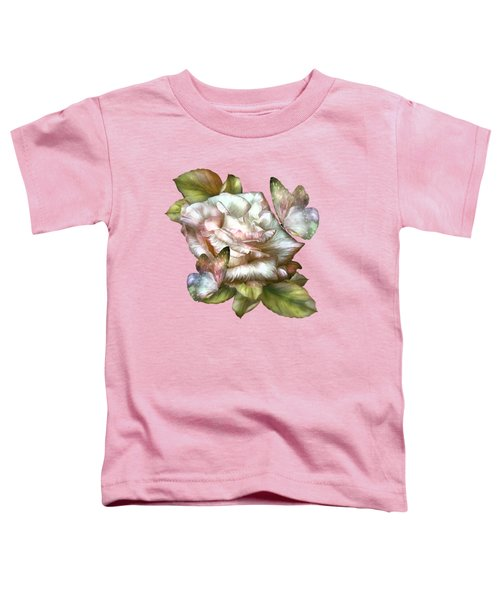 Antique Rose And Butterflies Toddler T-Shirt by Carol Cavalaris