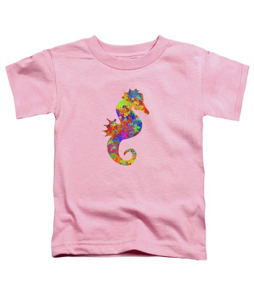 Seahorse Watercolor Art Toddler T-Shirt by Christina Rollo