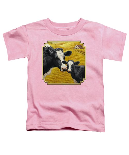 Holstein Cow And Calf Farm Toddler T-Shirt by Crista Forest