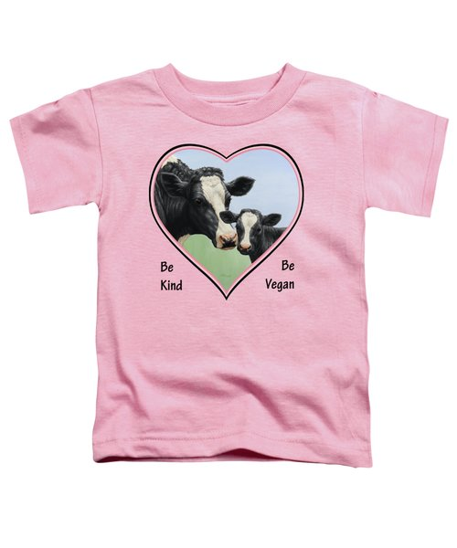 Holstein Cow And Calf Pink Heart Vegan Toddler T-Shirt by Crista Forest