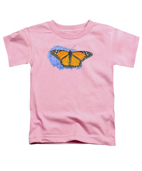 Monarch Butterfly And Hydrangea- Transparent Background Toddler T-Shirt by Sarah Batalka