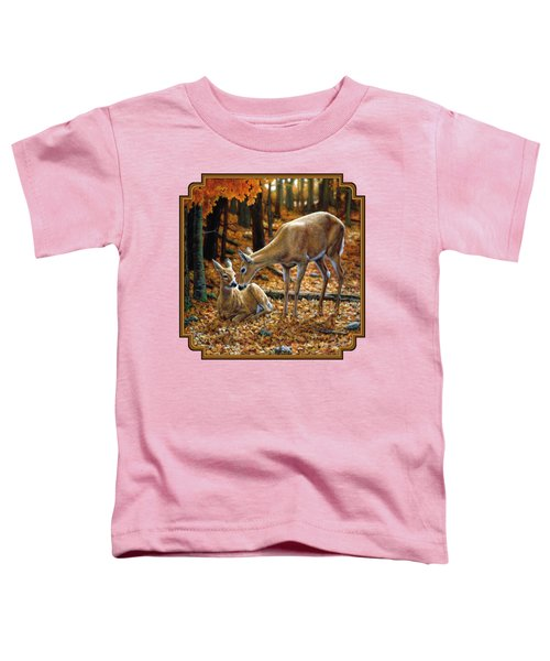 Whitetail Deer - Autumn Innocence 2 Toddler T-Shirt by Crista Forest
