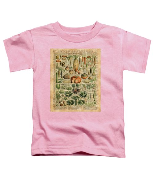 Autumn Fall Vegetables Kiche Harvest Thanksgiving Dictionary Art Vintage Cottage Chic Toddler T-Shirt by Jacob Kuch