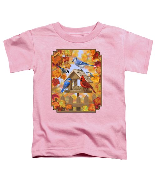 Bird Painting - Autumn Aquaintances Toddler T-Shirt by Crista Forest
