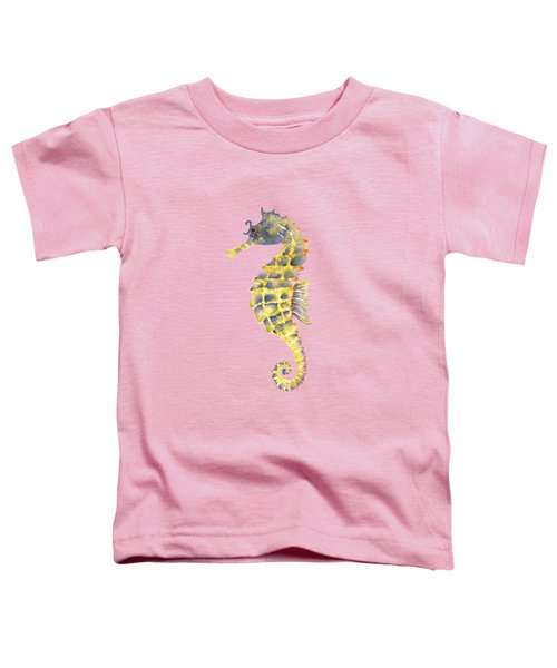 Blue Yellow Seahorse - Square Toddler T-Shirt by Amy Kirkpatrick