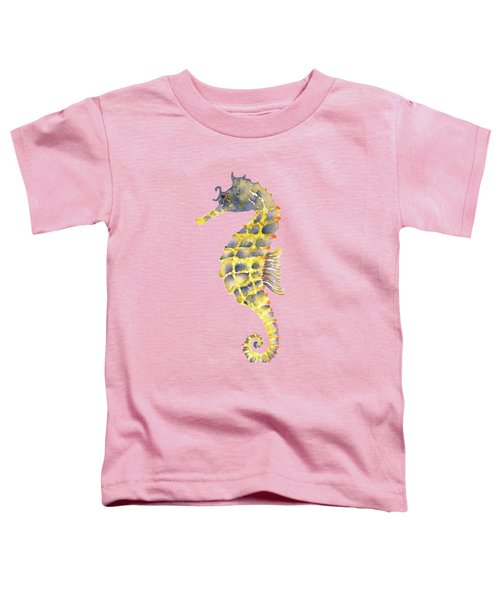 Blue Yellow Seahorse - Vertical Toddler T-Shirt by Amy Kirkpatrick