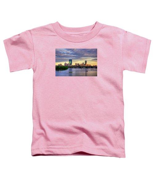 Boston Skyline Sunset Over Back Bay Toddler T-Shirt by Joann Vitali