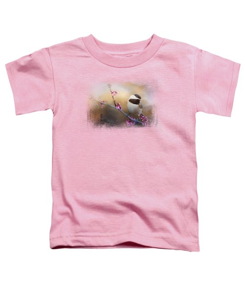 Chickadee And Pink Blooms Toddler T-Shirt by Jai Johnson