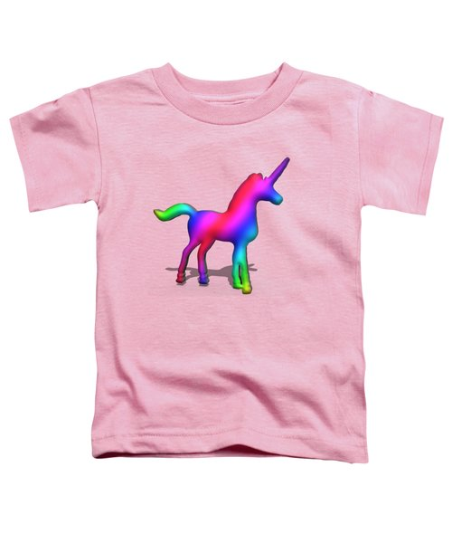 Colourful Unicorn In 3d Toddler T-Shirt by Ilan Rosen