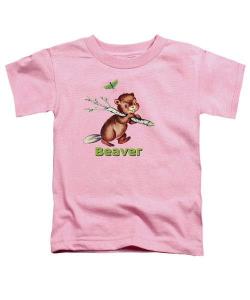 Cute Baby Beaver Pattern Toddler T-Shirt by Tina Lavoie