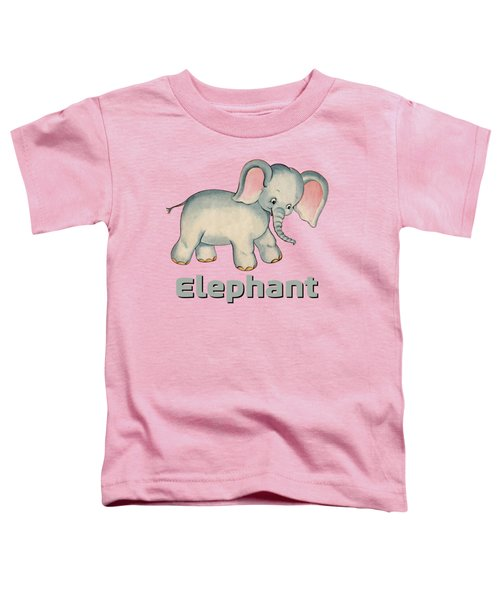 Cute Baby Elephant Pattern Vintage Illustration For Children Toddler T-Shirt by Tina Lavoie