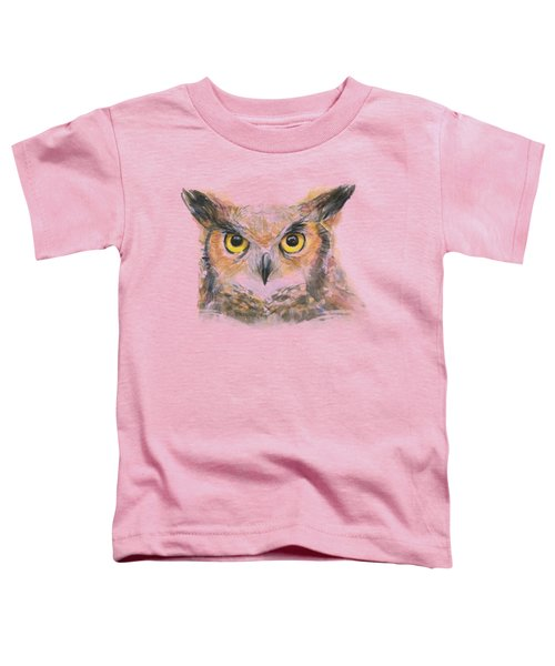 Great Horned Owl Watercolor Toddler T-Shirt by Olga Shvartsur