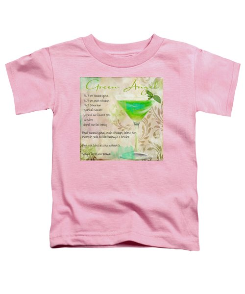 Green Angel Mixed Cocktail Recipe Sign Toddler T-Shirt by Mindy Sommers