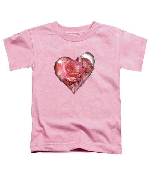 Heart Of A Rose - Melon Peach Toddler T-Shirt by Carol Cavalaris