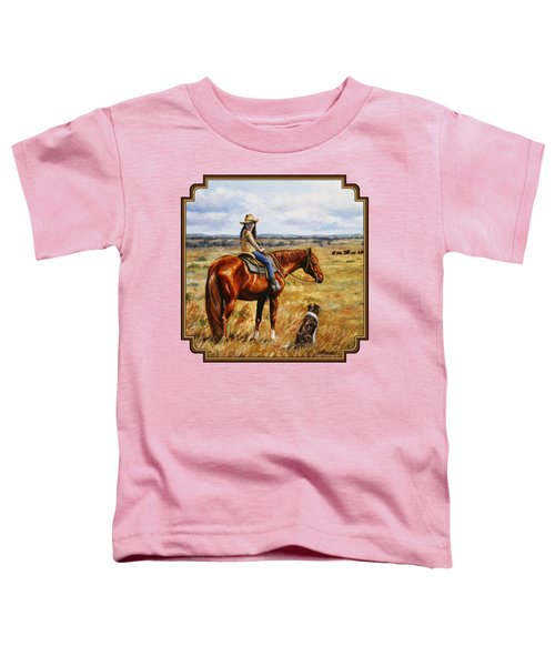 Horse Painting - Waiting For Dad Toddler T-Shirt by Crista Forest