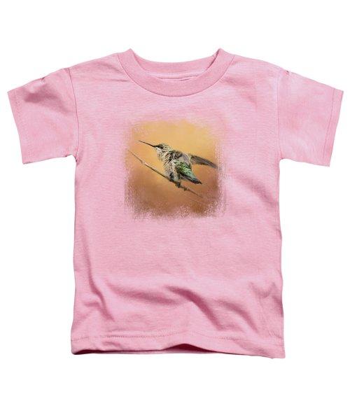 Hummingbird On Peach Toddler T-Shirt by Jai Johnson
