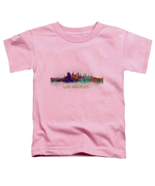 Los Angeles City Skyline Hq V4 Toddler T-Shirt by HQ Photo