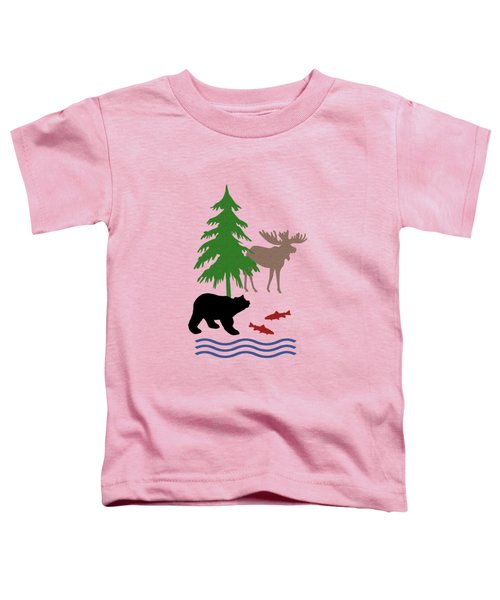 Moose And Bear Pattern Aged Toddler T-Shirt by Christina Rollo