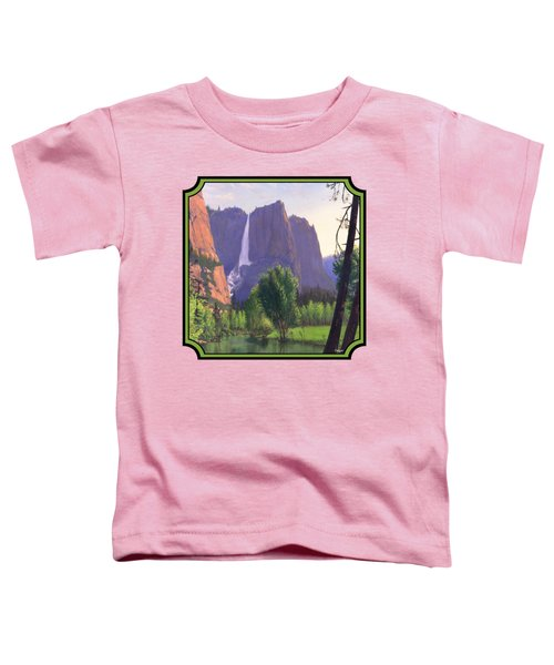 Mountains Waterfall Stream Western Landscape - Square Format Toddler T-Shirt by Walt Curlee
