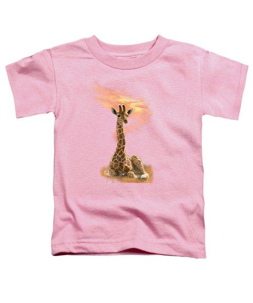 Newborn Giraffe Toddler T-Shirt by Lucie Bilodeau