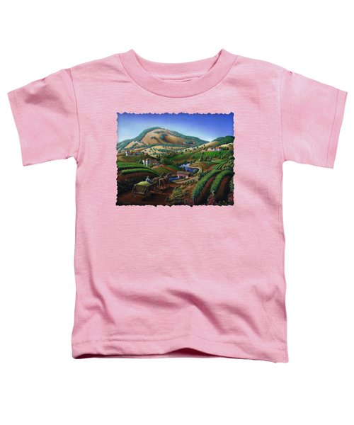 Old Wine Country Landscape - Delivering Grapes To Winery - Vintage Americana Toddler T-Shirt by Walt Curlee
