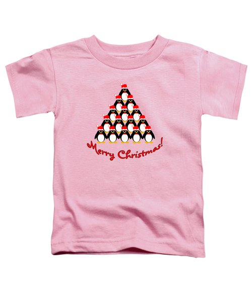 Penguin Christmas Tree Toddler T-Shirt by Methune Hively