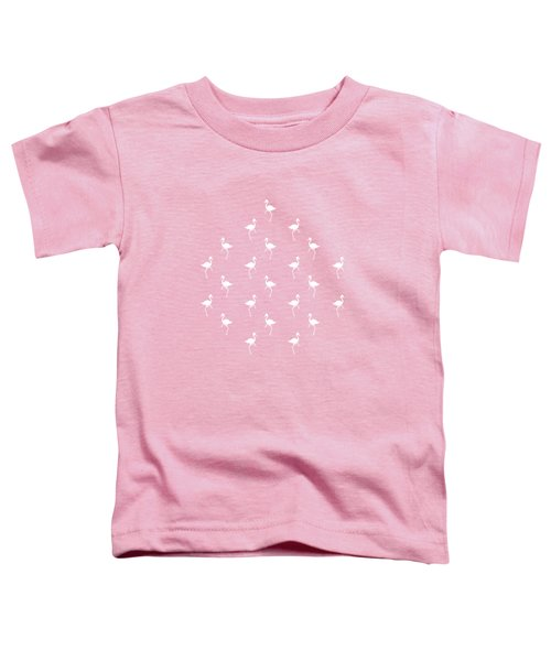 Pink Flamingos Pattern Toddler T-Shirt by Christina Rollo