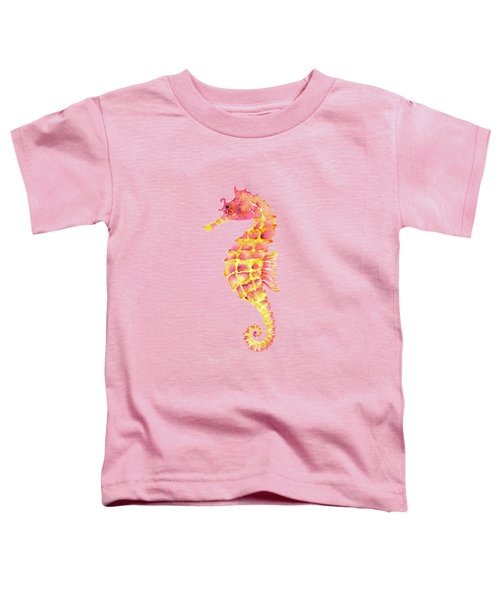 Pink Yellow Seahorse Toddler T-Shirt by Amy Kirkpatrick